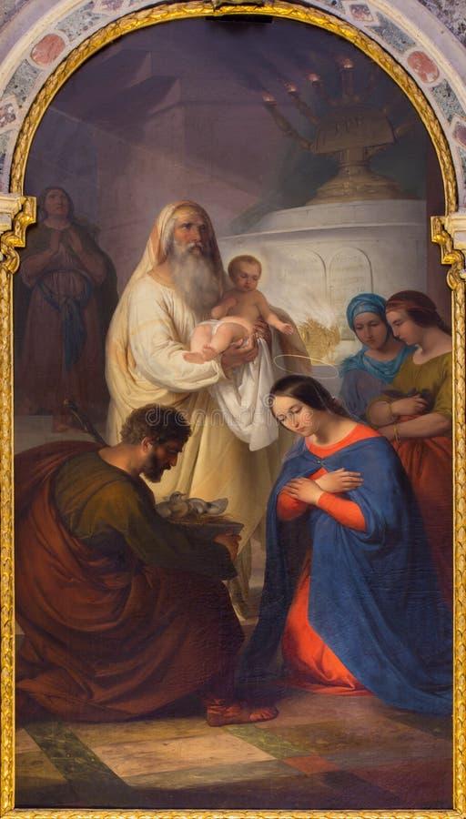 Venecia - la presentación en el templo de Antonio Ermolao Paoletti (1833 - 1913) en la iglesia de San Giovanni e Pablo de los di  fotos de archivo