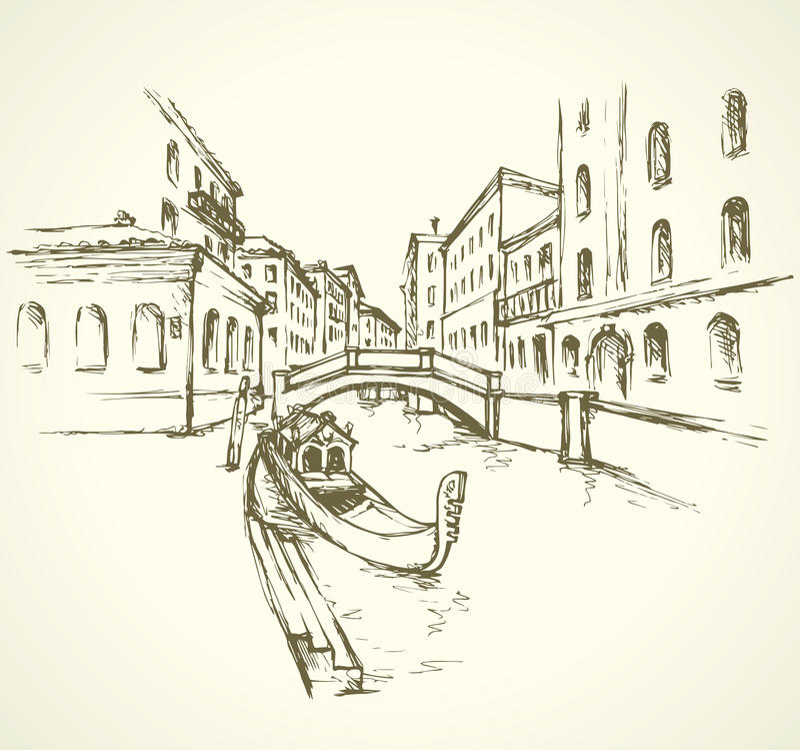 Venecia Paisaje urbano del vector stock de ilustración