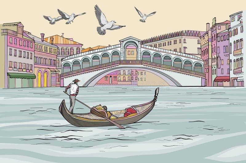Venecia pejzażu miejskiego widok Gondola w kanał grande royalty ilustracja