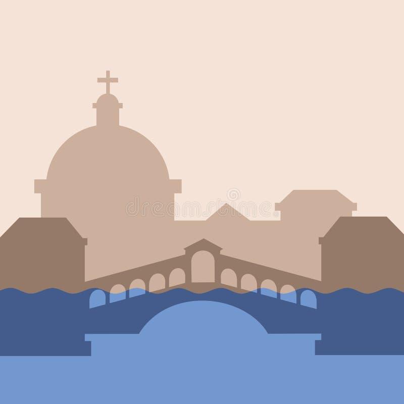Venecia se está hundiendo debajo del agua debido a subida y el crecimiento del nivel del mar ilustración del vector