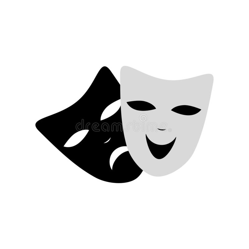 Venecian-Karneval maskiert Spaß und traurige lokalisierte Ikone Schwarzweiss-Farbe Vektor Getrennt vektor abbildung