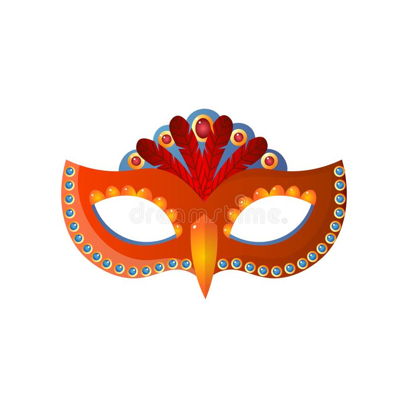 Venecian Maskenunisex des Karnevals lokalisiert auf weißem Hintergrund stock abbildung