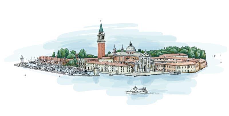 Venedig - ö av San Giorgio Maggiore vektor illustrationer