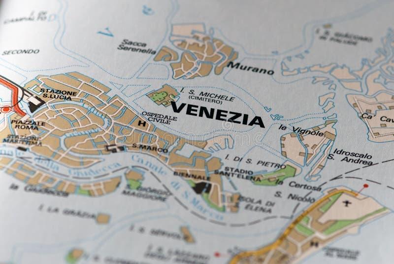 Venedig auf der Karte stockfoto