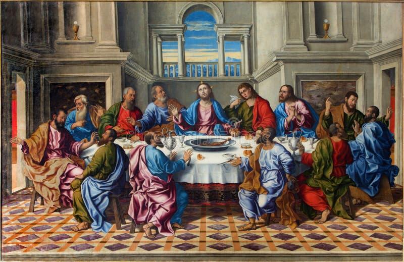 Venedig - den sista kvällsmålet av den KristusUltima cenaen av Girolamo da Santacroce (1490 - 1556) royaltyfri fotografi