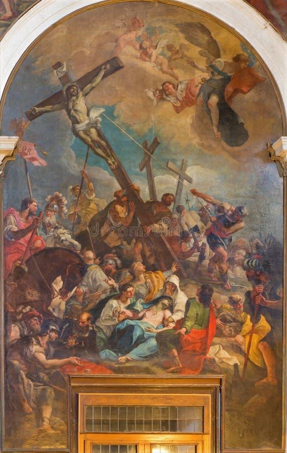 Venedig - die Kreuzigung durch Girolam Brusaferro (1684 - 1726) in der Kirche Chiesa di San Moise lizenzfreie stockbilder