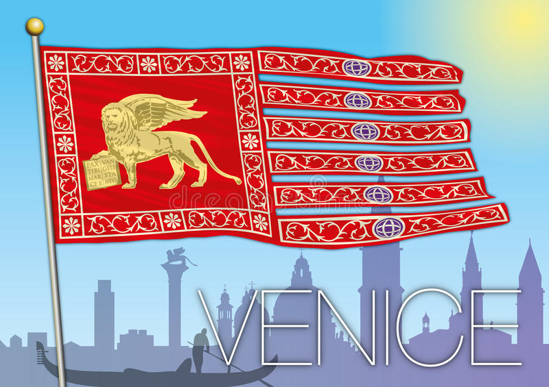 Venedig flagga och stadskontur stock illustrationer