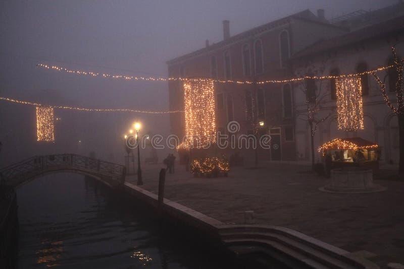 Venedig fyrkant på jultid arkivbilder