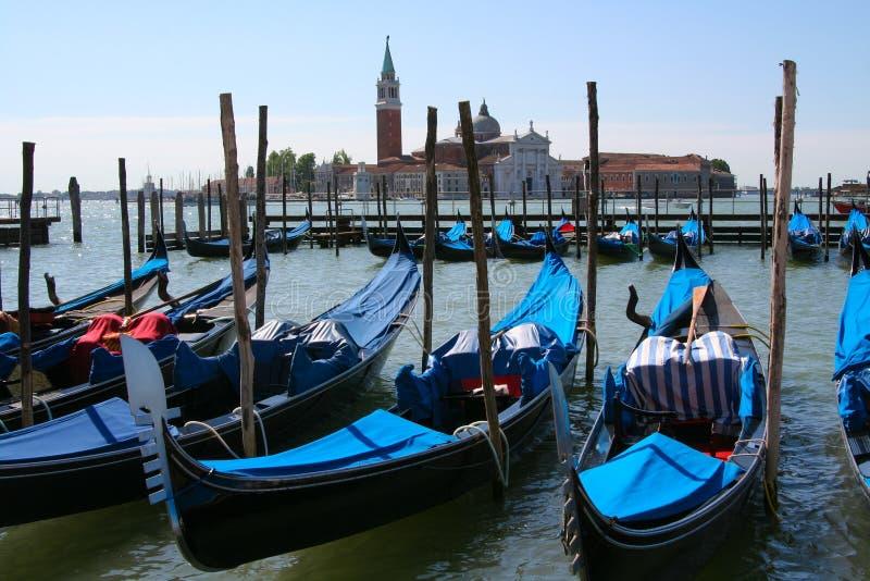 Venedig gondoler i piazza San Marco arkivfoto