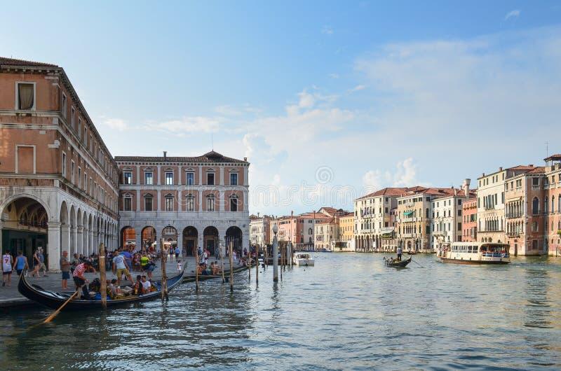 Venedig grankanal Italien arkivbild