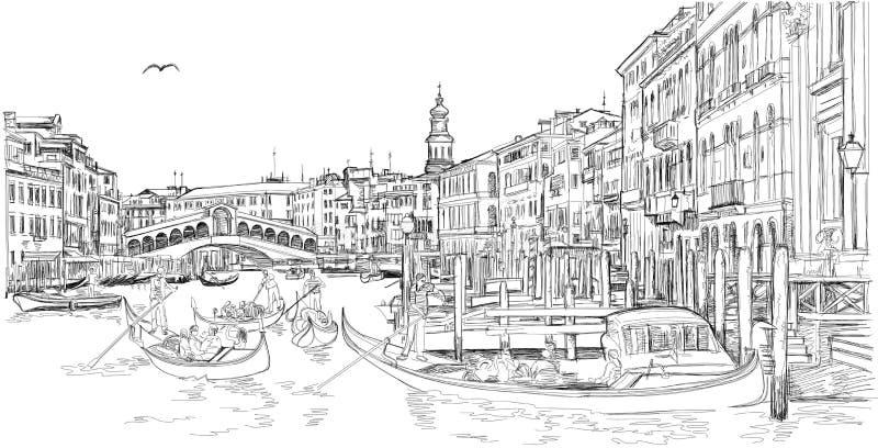Venedig - großartiger Kanal Ansicht der Rialto Brücke lizenzfreie stockfotos