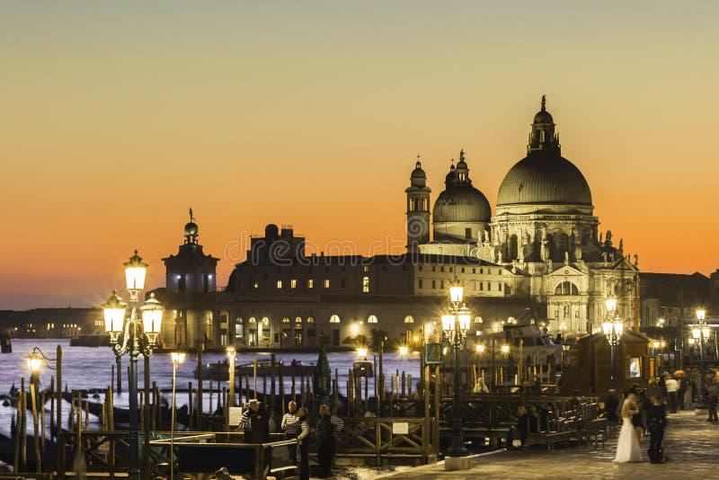 Venedig i solnedgång fotografering för bildbyråer