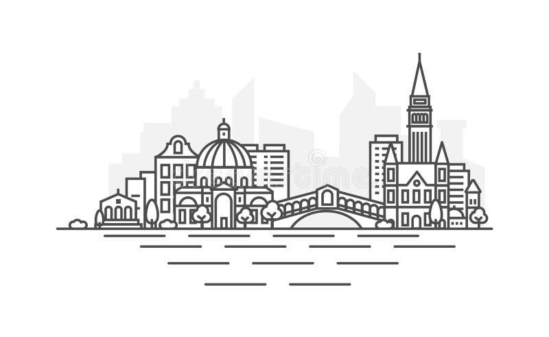 Venedig Italien arkitekturlinje horisontillustration Linj?r vektorcityscape med ber?mda gr?nsm?rken, stadssikt, design stock illustrationer