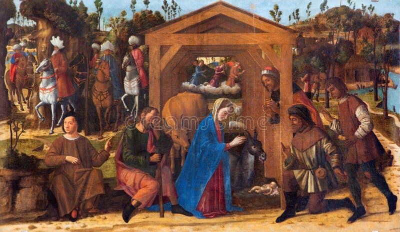VENEDIG, ITALIEN - 13. MÄRZ 2014: Die Verehrung der Schäferfarbe durch Giovanni Manuseti von 14 cent lizenzfreie stockbilder