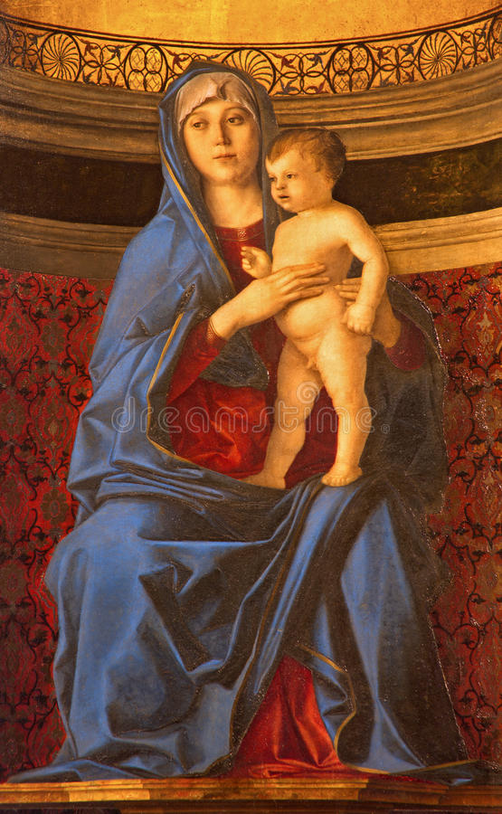 VENEDIG, ITALIEN - 12. MÄRZ 2014: Madonna-della Misericordia von der Sakristei von Kirche Basilikadi Santa Maria Gloriosa-dei Fra lizenzfreies stockfoto