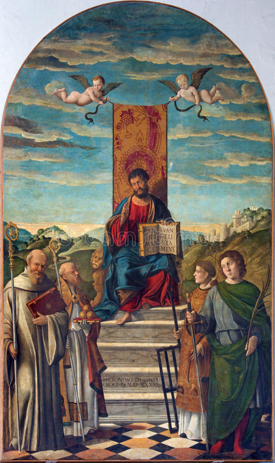 VENEDIG, ITALIEN - 13. MÄRZ 2014: San Marco e Santi St Marc und Heilige durch Girolamo da Santacroce 1490 - 1556 stockbilder