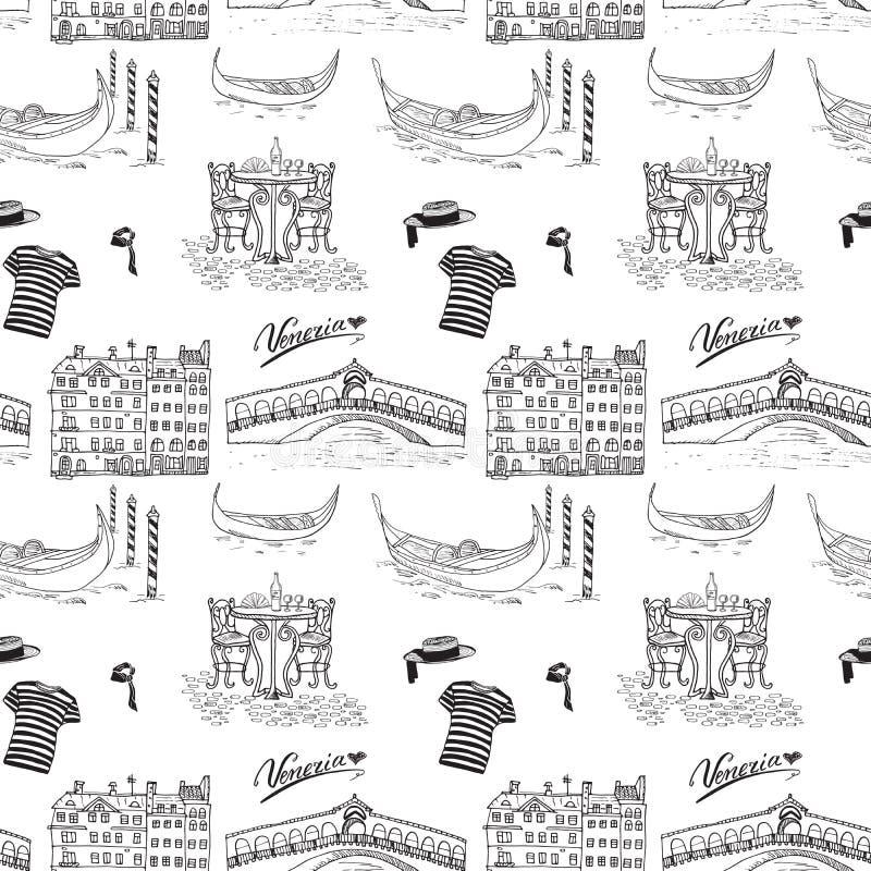 Venedig Italien sömlös modell Den drog handen skissar med gondoler, gondoljär beklär, hus, marknadsbron och kafétabellen med stol vektor illustrationer