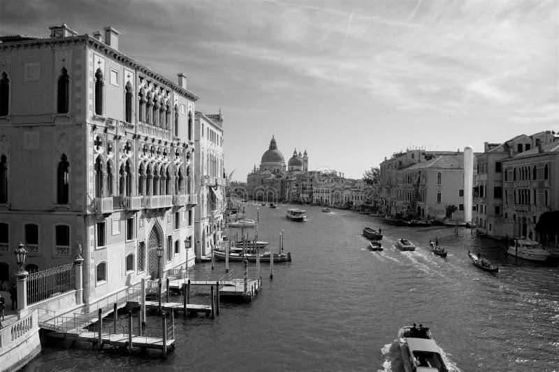 Venedig Italien, Santa Maria della Salute med den storslagna kanalen arkivfoton