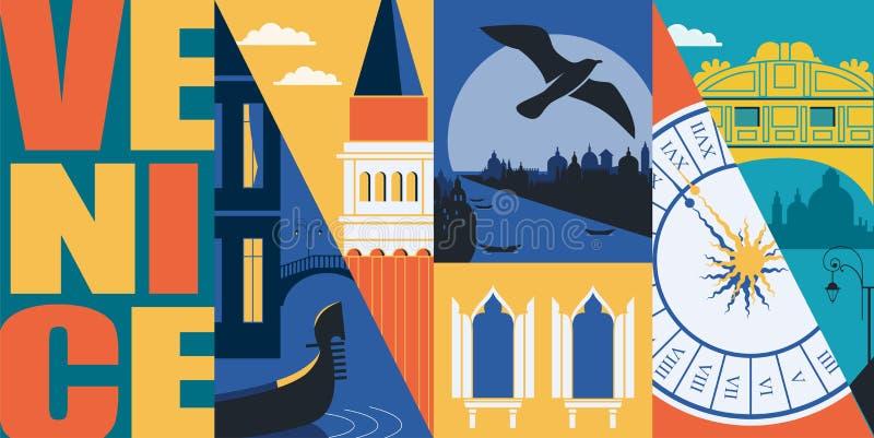 Venedig Italien vektorbaner, illustration Stadshorisont, storslagen kanal, San Marco stock illustrationer