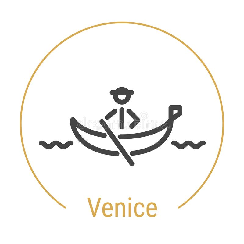 Venedig Italien vektorlinje symbol royaltyfri illustrationer