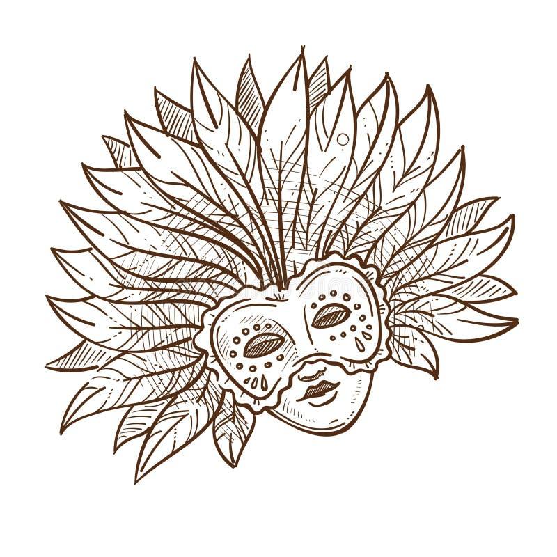 venedigkarnevalsmaske mit federn lokalisiertem skizze