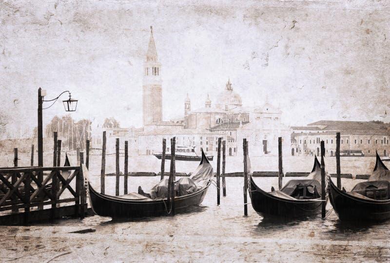 Venedig konstverk i retro stil royaltyfri illustrationer