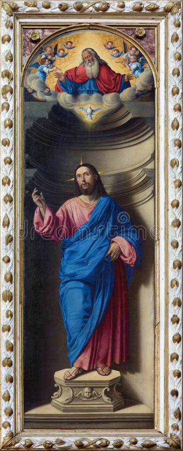 Venedig - Kristus Förlossare av Girolamo di Santacroce (1530 - 1556) i kyrkliga San Francesco della Vigna royaltyfri foto