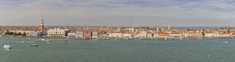 Venedig-Lagune mit Stadtbildluftpanorama, Italien stockfoto