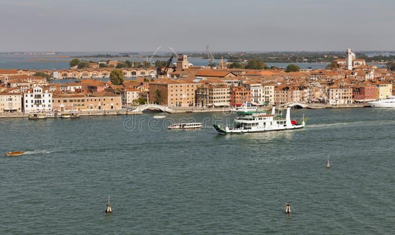 Venedig-Lagune und Stadtbild, Italien stockbild