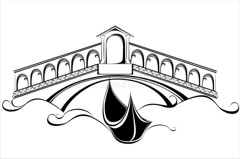 Venedig landskap med gondolfartyget och överbryggar stock illustrationer
