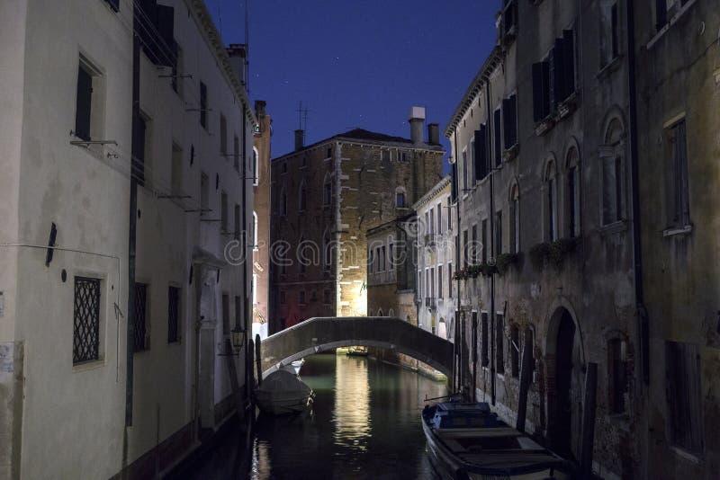 Venedig nattsikt, Italien arkivbilder