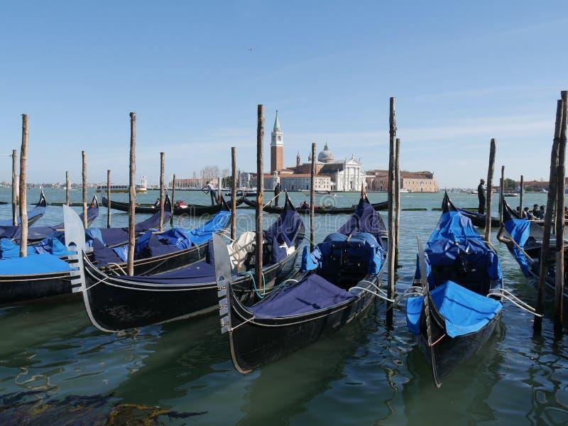 Venedig - San Marco fyrkantpanorama från den stora kanalen arkivbild