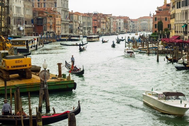 Venedig Sikt till Grand Canal royaltyfria foton