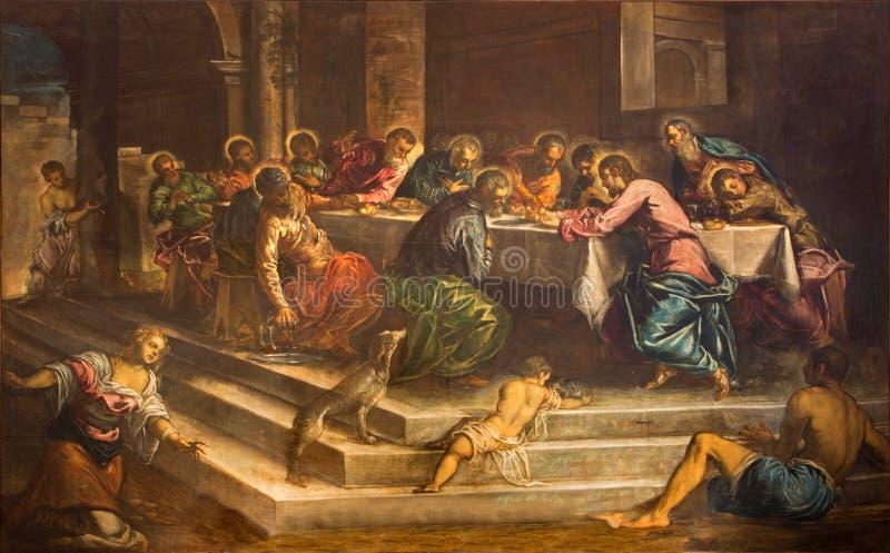 Venedig - sista kvällsmål av Kristus (Ultima Cena) vid Jacopo Robusti (Tintoretto) i kyrkliga Chiesa di San Stefano fotografering för bildbyråer
