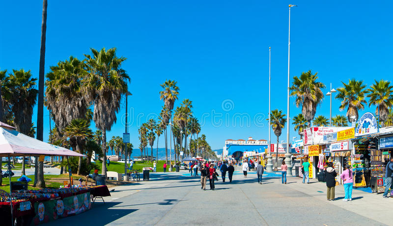 Venedig strandpromenad royaltyfri bild