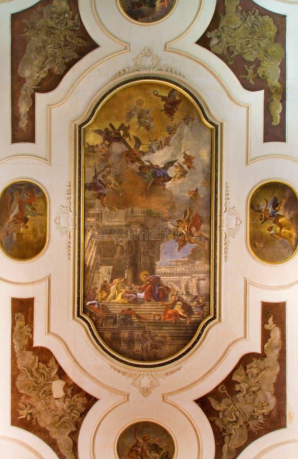 Venedig - takfreskomålning i den kyrkliga Chiesa deien Santi XII Apostoli vid den Fabio Canal La comunionedeglien Apostoli fotografering för bildbyråer