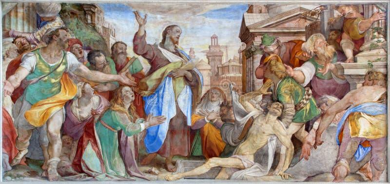 Venedig - uppståndelsen av Lazarus i beträffande de tre vise männen för kapellCappella dei av Grimani i kyrkliga San Francesco de fotografering för bildbyråer
