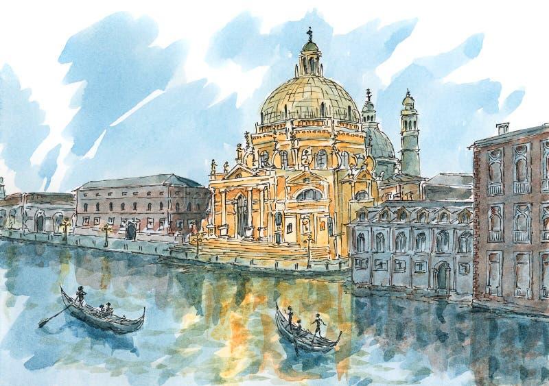 Venedig Veneto region, Italien på skymning vektor illustrationer