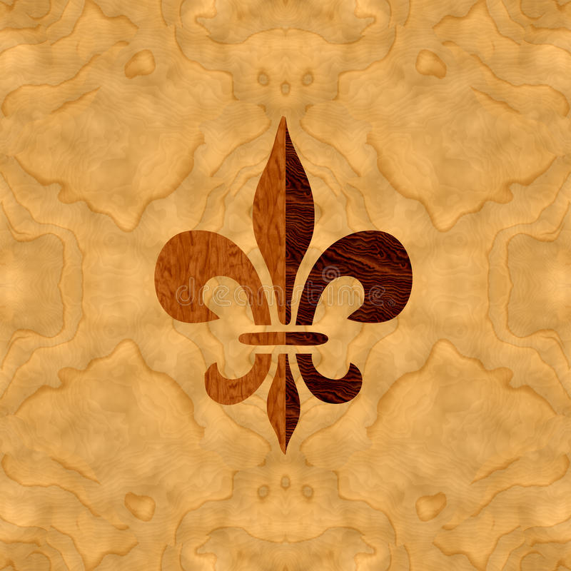 Veneer inlay Fleur-de-Lis. An illustration of delicate wooden inlay with fine wood grain textures. Could be repeated in all direction seamlessly vector illustration