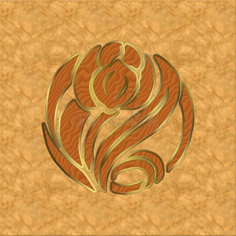 Veneer rose with brass inlay stock illustration