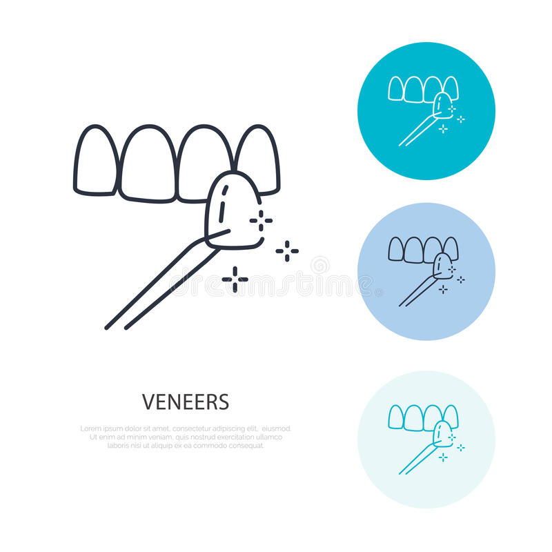 Veneers line icon. Dental care equipment sign, medical elements. Health care thin linear symbol for dentistry clinic.  vector illustration