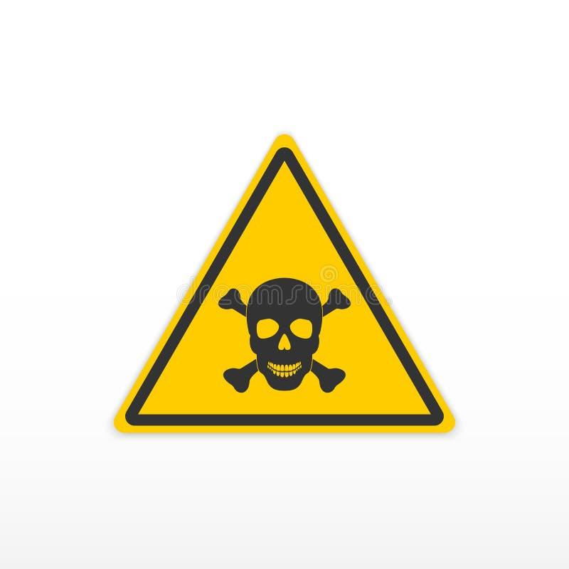 Veneno do sinal Sinal tóxico do perigo Crânio e ossos Ícone no fundo branco ilustração stock