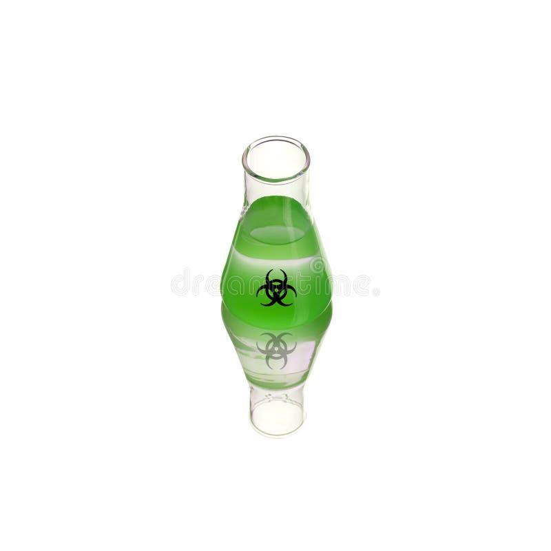 Veneno do verde do biohazard da garrafa em um fundo verde Veneno, s?mbolo do perigo Experi?ncia qu?mica Ilustra??o m?dica Biohaza imagens de stock royalty free