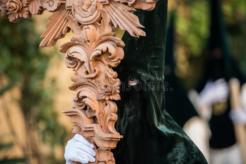 Venerable Brotherhood and Fraternity of Penitents of Our Lord Jesus of Humility at His Arrest and Our Lady. Caceres, Extremadura, Spain - April 08, 2017: The stock images