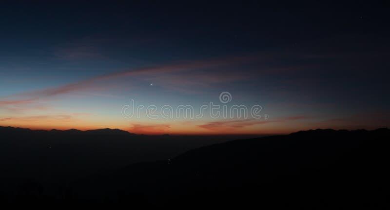 Venere, cielo notturno, Himalaya, Nepal, spazio, alba, tramonto, pianeta immagini stock libere da diritti