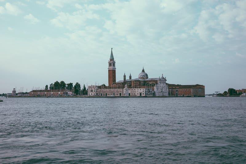 拉古纳威尼斯和圣乔治堂马吉欧雷海岛Veneta全景  库存照片
