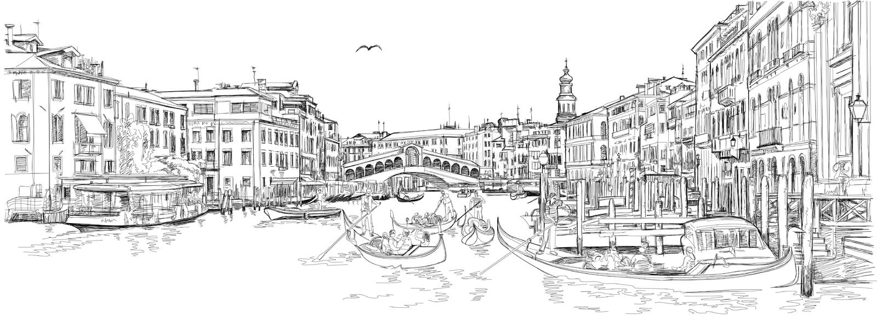 Venetië De Brug van Rialto vector illustratie