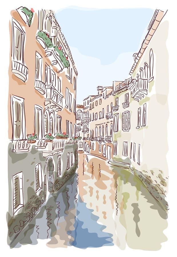 Venetië. De stijl van de waterverf. stock illustratie
