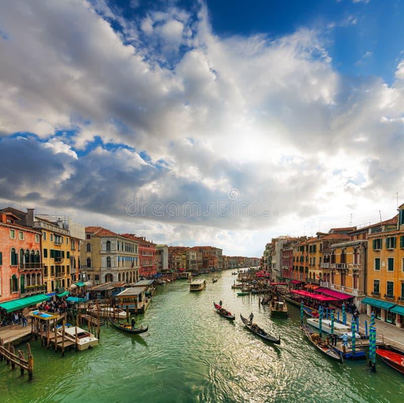 Venetië - gondels en boten op Grand Canal. royalty-vrije stock fotografie