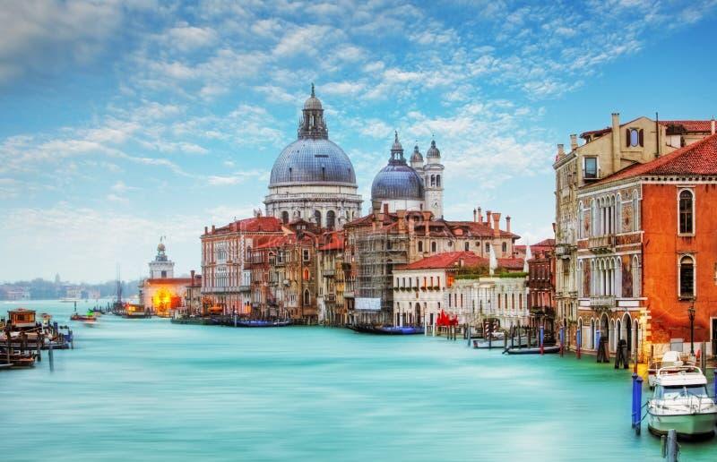 Venetië - Grand Canal en Basiliek Santa Maria della Salute royalty-vrije stock afbeelding